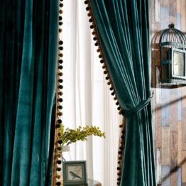 Samt-Vorhänge Set für Wohnzimmer Pom Pom Verdunkelung, gefüttert