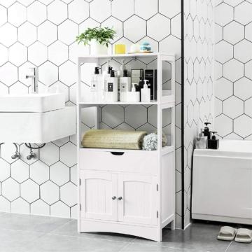 Badregal mit 4 Etagen, Badezimmerschrank aus Holz, weiß, 60 x 122 x 32,5 cm