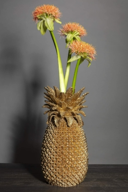Kare Design Vase Pineapple 50cm, große, goldene Blumenvase, dekorative Ananas
