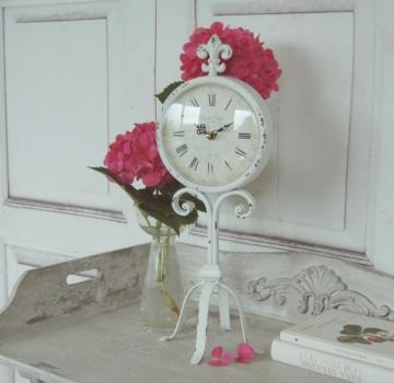 Uhr Lilie, Antique Shabby Chic Landhausstil, Tischuhr