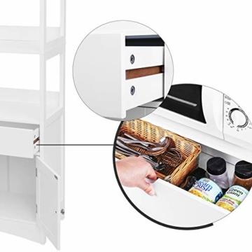 Badregal mit 4 Etagen, Badezimmerschrank aus Holz, weiß, 60 x 122 x 32,5 cm -