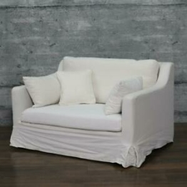 XXL Sessel TIEN, Relaxsessel weiss mit Kissen Hussensessel Love-Seat Couch 2er