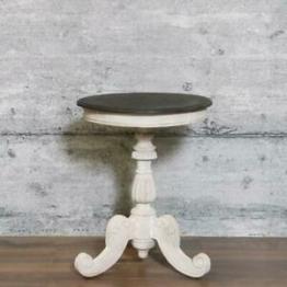 Tisch SINJ massiv edles Mangoholz Ø60 weiß Schnitzerei Beistelltisch klein Antik