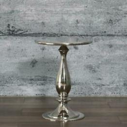 Beistelltisch PICCO, Design Couchtisch Aluminium silber Metall rund Nachttisch