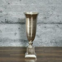XL Bodenvase BELFO 85 groß Aluminium Dekovase Blumenvase Antik Pokalvase silber