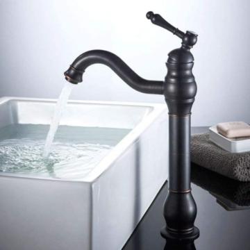 Waschtischarmatur Nostalgie Retro Waschbecken Armatur 360 Schwenkbar Einhebel aus Messing