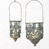 2er Set Windlicht hängend Glas Metall Teelicht Hängedeko Laterne Antik -Gold Hängelaterne Vintage, H23-31cm