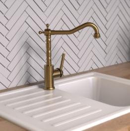 OXFORD Spültischarmatur, Wasserhahn Küche Niederdruck, Energiesparfunktion, 360° schwenkbarer Auslauf, Ideal für Doppelspülbecken Messing gebürstet