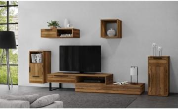 Woodkings® TV Bank Auckland variabel, Lowboard aus massiv Holz Natur, TV Möbel flexibel stellbar, Wohnwand variabel, Fernsehbank modern (Holz - Rec. Pinie, 1 Schub)