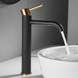 Waschtischarmatur Einhebel-Mischbatterie , Schwarz und Gold