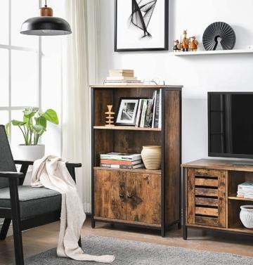 Bücherschrank, Büroregal, Küchenschrank mit 2 offenen Fächern, 1 Fach mit Schranktüren, multifunktional, Industrie-Design,