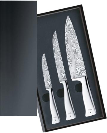Messerset 3teilig, 3 Damastmesser geschmiedet, Damaststahl 120-lagig, Performance Cut, Holzkassette