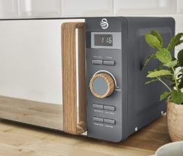 Swan Nordic Digitale Mikrowelle 20 l, 6 Betriebsstufen, 800 W Leistung, 30 Minuten Timer, einfache Reinigung, Auftau-Modus, modernes Design, Holz-Effekt, grau matt