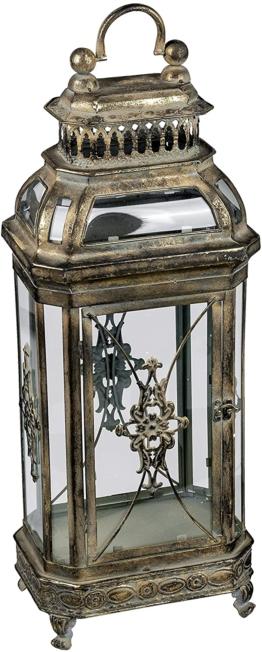 Deko-Laterne aus Metall Vintage Antik Windlicht 17x60cm