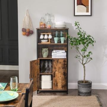 Bücherschrank, Büroregal, Küchenschrank mit 2 offenen Fächern, Regalebene im Schrank verstellbar, multifunktional, Industrie-Design