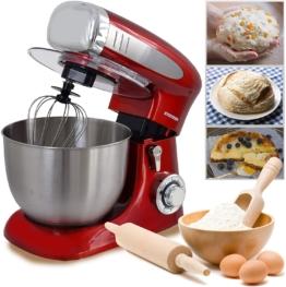 Retro Küchenmaschine Knetmaschine Mixer, Edelstahl-Behälter, 6,5 Liter, rot
