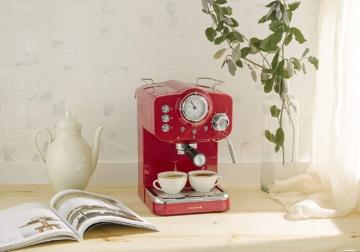 Espressomaschine im Vintage-Stil für Espresso und Cappuccino mit einer Pumpe von 15 bar und 1100 W Leistung