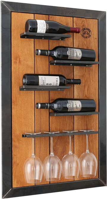 Weinregal aus Eiche und Stahl Wandregal  (Maße: Breite 60cm x Höhe 100xm x Tiefe 10cm)