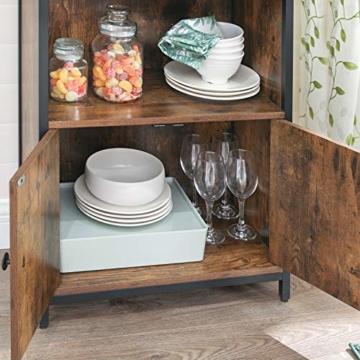 Bücherschrank, Büroregal, Küchenschrank mit 2 offenen Fächern, 1 Fach mit Schranktüren, multifunktional, Industrie-Design, -