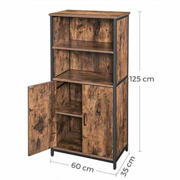 Bücherschrank, Büroregal, Küchenschrank mit 2 offenen Fächern, Regalebene im Schrank verstellbar, multifunktional, Industrie-Design -