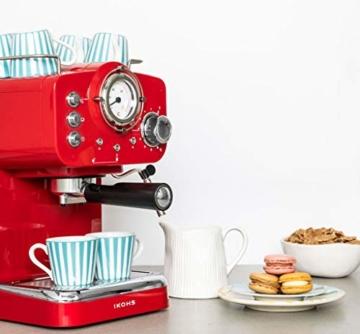 Espressomaschine im Vintage-Stil für Espresso und Cappuccino mit einer Pumpe von 15 bar und 1100 W Leistung -