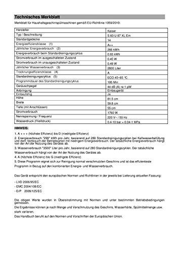 Kaiser Empire S 60 U 87 XL Em Retro Einbau Geschirrspüler 60 cm/ Untebrau Spülmaschine/ Luxus Herstellers Kaiser / 6 Programme / 14 Maßgedecke -