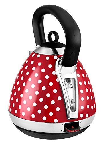 Retro-Edelstahlwasserkocher mit 1,7 l Fassungsvermögen, 2400 W, Partikelfilter, Rot/Weiß -