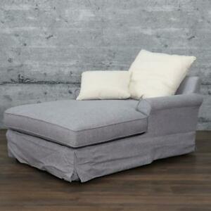 Chaiselongue COMP graublau Longchair XL Sessel Recamiere edles Leinen Sofa Couch