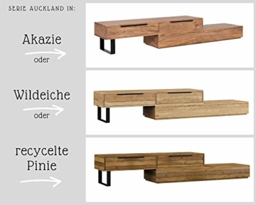 Woodkings® TV Bank Auckland variabel, Lowboard aus massiv Holz Natur, TV Möbel flexibel stellbar, Wohnwand variabel, Fernsehbank modern (Holz – Rec. Pinie, 1 Schub) -