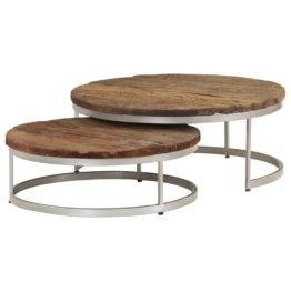 2-tlg. Couchtisch-Set, im industriellen Vintage-Stil