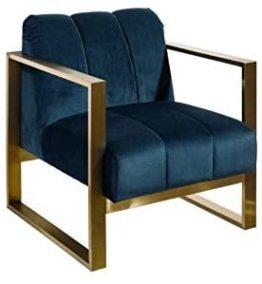 DENZZO Sessel, gewebt, mit Füßen, Stahl, goldfarben