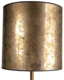 Modern Vintage Stehleuchte/Stehlampe Gold/Messing mit alt bronze Schirm 40 cm E27