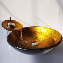 Waschbecken Set Rund Gold Gehärtetes Glas Aufsatz Waschschale mit Wasserfall Wasserhahn