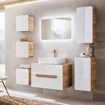 Badezimmer Set (8 Teile)  Hochglanz weiß & Wotaneiche, Waschtischunterschrank mit 50cm Keramik-Waschbecken