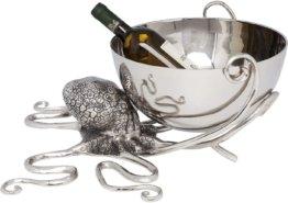 Weinkühler Octopus, Aluminium vernickelt, Silber
