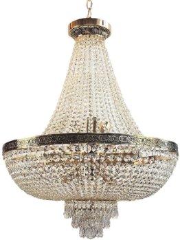 Korblüster,Kristall Hängeleuchte, PLAZA 12 Flammig Ø60cm Gold gefertigt aus geschliffenen Kristallen