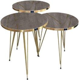 Beistelltisch 3 er Set rund -  Metallgestell Braun, Füße vergoldet, Breite 38 cm x Höhe (H) 45,5 cm (H) 49,5 cm (H) 53,5 cm
