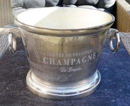 Champagnerkühler, Weinkühler, Flaschenkühler, Aluminium, Silber - Kühler für Sekt, Wein und Champagner - XXL 38 cm