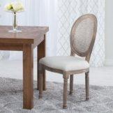 Eleganter Polsterstuhl aus Holz, Rattan