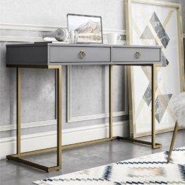 Schreibtisch mit geraden Linien und modernen goldenen Metallbeinen
