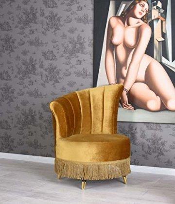 Art Deco Samt Sessel Gold Cocktailsessel mit Fransen Loungesessel Boudoir Stuhl -