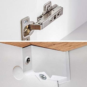 Badezimmer Set (8 Teile)  Hochglanz weiß & Wotaneiche, Waschtischunterschrank mit 50cm Keramik-Waschbecken -