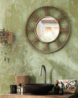 Runder Spiegel mit Rahmen aus Rattangeflecht
