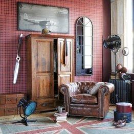 Gepolsterter Sessel aus braunem Leder, Chesterfield