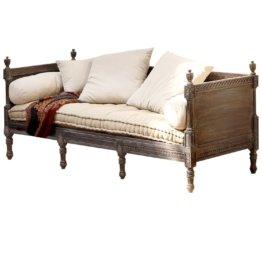 LOBERON Sofa Douville, graubraun/creme (80 x 200 x 85cm)