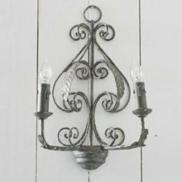 Wandlampe CHIG, Design-Leuchte Eisen Antik-Shabby-Finish Wandleuchte grau