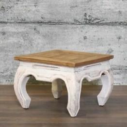 Couchtisch LOPUD 50x50 Massivholz recycelt Dekotisch Shabby Beistelltisch weiß