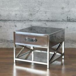 Couchtisch LAMB - Beistelltisch Glas Edelstahl schwarz Koffer 60x60cm Rindsleder