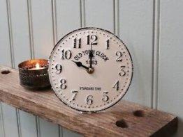 Chic Antique TISCHUHR CREMEWEIß OLD TOWN CLOCK METALL NEU 15,5 CM
