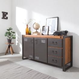 TV-Lowboard Massivholz Akazie, Metall